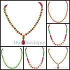 """Jade Necklace 17""""-19"""" Ruby red green multi-color Lobster Clasp"""