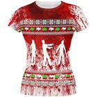 Ugly Christmas Sweater Bloody Zombie Attack Survivor All Over Juniors T Shirt