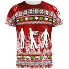 Ugly Christmas Sweater Bloody Zombie Attack Survivor All Over Mens T Shirt