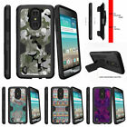 For LG Aristo / LG Fortune Clip Hybrid Holster Kickstand Case Swamp Camouflage