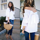 Fashion Womens Off Shoulder Back Tie Summer Loose Shirt Casual Blouse Tops GIFT