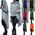Women Casual Loose Long Hoodies String Asymmetric Sweatshirt Coat Hooded Tops
