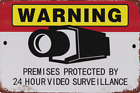 WARNING PREMISES PROTECTED BY VIDEO SURVEILLANCE METAL PLAQUE TIN SIGN B371