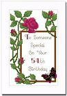 50th, 51st, 52nd, 53rd or 54th ROSE BIRTHDAY CARD - CROSS STITCH KIT
