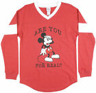Womens Disney Mickey Mouse French Terry Sweatshirt Pullover Red