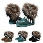 Women Winter Warm Snow Ankle Boots Faux Fur Tassel Shoes Flat Bootie 3 Z88 01