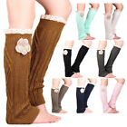 Fashion Winter Warm Womens Cable Knitted Knee High Flower Socks Leg Warmers UK
