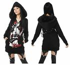 VIXXSIN CORSET BLACK WHITE FITTED GOTHIC FUR HOOD HOODIE 8-14 + RED ROSE HAIR CL