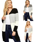 Womens Cable Knitted Striped Contrast Long Sleeve Top Ladies Open Cardigan 8-14