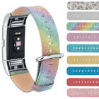 Glitter Powder Genuine Leather Replacement Wristband+Clasp For Fitbit Charge 2