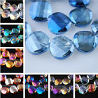 14mm Charms Faceted Twist Tile Glass Crystal Finding Loose Spacer Beads DIY