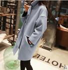 Womens Loose Slim Fit Woolen Mid-Calf Overcoat Casual Coat Trench Jacket Fashion