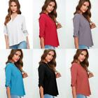 Women V-Neck Roll Up Sleeve Curved Hem Solid Casual Loose Chiffon Blouse S0BZ 01