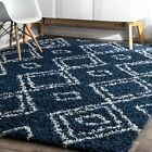 nuLOOM Contemporary Modern Geometric Shag Area Rug in Navy Blue and White