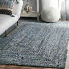nuLOOM Hand Made Natural Cotton and Jute Blend Braided Area Rug in Denim Blue