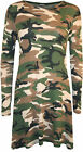 New Womens Plus Size Army Camouflage Print Long Sleeve Ladies Swing Dress 16-22