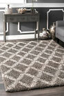 nuLOOM NEW Contemporary Geometric Diamond Plush Shag Area Rug in Brown