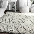 nuLOOM NEW Modern Moroccan Zig Zag Plush Shag Area Rug in Ivory and Grey