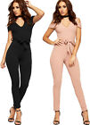 Womens Cut Out Cold Shoulder Belted Jumpsuit Ladies Trousers Sleeveless Stretch
