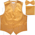New Men's formal wedding Slim Fit Tuxedo vest Waistcoat_bow tie & hankie gold for sale  Shipping to Nigeria