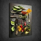 HERBS SPICES OIL KITCHEN SPOONS MODERN BOX CANVAS PRINT WALL ART PICTURE