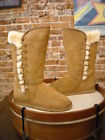 LAMO Chestnut Suede Robyn Lace Detail Tall Faux Fur Boots NEW