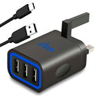Multi 3 Port USB 3-pin UK Plug Wall Charger High Speed Output 3.1A + USB C Cable