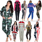 Womens Mens Fleece All In One Fleece Jumpsuit Aztec Camo Camouflage USA UK Flag