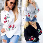 2017 Women Winter Warm Embroidered Flared Sleeve Knitted Pullover Jumper Tops