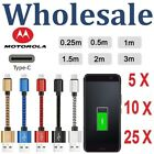 Lot USB TypeC Braided Data Charger Cable Cord For Mototrola Moto Z/Z2 Force/Play