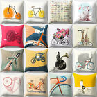 Cartoon Bicycle Print Pillow Case Bed Waist Cushion Cover Home Decor Sanwood