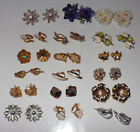 18 Pair Vintage Flower Clip On Earrings - DC18FLC