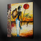 AFRICAN LADY MODERN PAINTING STYLE BOX CANVAS PRINT WALL ART PICTURE