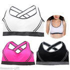 New Women's Stretch Padded Racerback Yoga Running Gym Sport Bra Back Cross Top