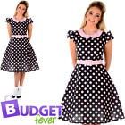 Polka Dot 1970s Housewife Womens Fancy Dress Rock n Roll Adults Costume Outfit