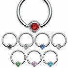 Surgical Steel Crystal Gem CBR Captive Nipple Belly Navel Ring 14GA 1.6mm