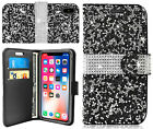 For iPhone X Bling Diamond Crystal Card Slot Folio Flip Stand Wallet Case Cover