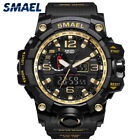 SMAEL Military Men's Sports Watch Alarm Date Analog Rubber Band Wristwatch Gold