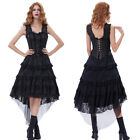 Retro Style Victorian Steampunk Gothic Costume Corset Lace Ruffles Bustle Dress