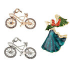 Women Crystal Rhinestone Brooch Bicycle/Angel Wing Girl Pins Charm Jewelry Gift
