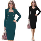 Womens Elegant Retro Fall Winter Button Work Business Office Party Sheath Dress