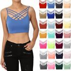 TheMogan Sleeveless Bustier Crop Top Cage Crisscross Cutout Bralette Bra Top