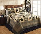 7PC COLONIAL STAR BLACK & TAN PRIMITIVE QUILT SHAMS SKIRT PILLOWS CASES BED SET