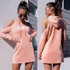 Fashion Women Off shoulder Hoodie Hooded Dress Sweatshirt Tops Blouse Pullover