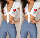 Sexy Summer women White Flowers Embroidered Straps Crop Top Short Sleeve T-Shirt
