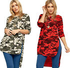 Womens Necklace Top Dip Hem Dress Ladies Lace Short Sleeve Camouflage Print