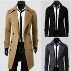 US Mens Winter Formal Trench Coat Double Breasted Overcoat Long Jacket Outwear