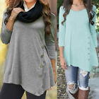 Women Long Sleeve Button Trim Blouse Round Neck Tunic T-Shirt Tops Plus S-6XL