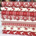 Scandi Nordic Design piece Christmas bundles Red & Cream 100% cotton fabric