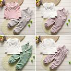 2pcs Baby Girl Long Sleeve T Shirt+Overalls Pants Outfits Trousers Tracksuit Set